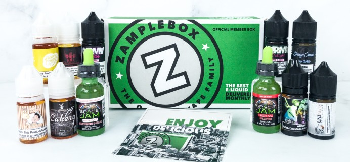 Zamplebox E-Juice July 2019 Subscription Box Review + Coupon!