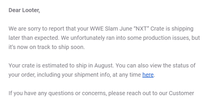WWE Slam Crate June 2019 Shipping Update #2