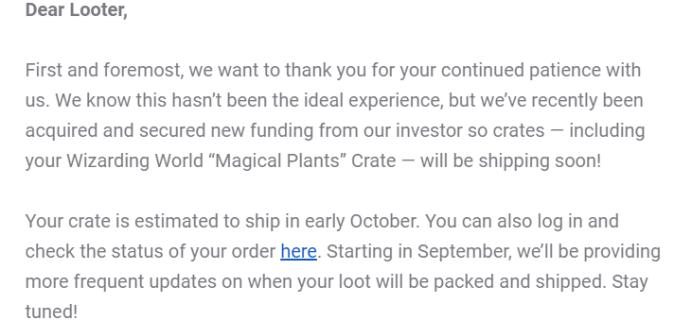 Wizarding World January 2020 Shipping Update
