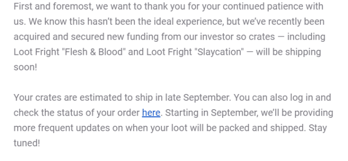 Loot Fright May & July 2019 Shipping Update + Coupon!