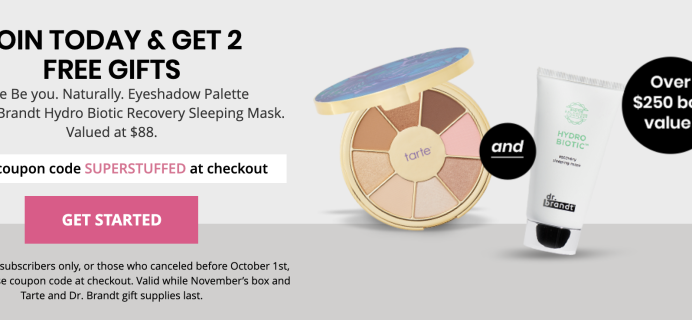 BOXYCHARM Coupon: FREE Tarte Palette AND Dr. Brandt Sleeping Mask ($88 Value)!