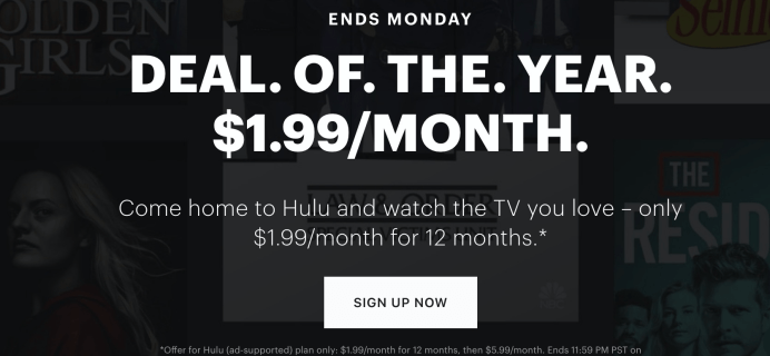 Hulu Cyber Monday Deal: Get an entire YEAR of Hulu for just $1.99 per month!