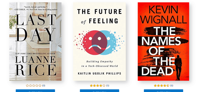Amazon First ReadsJanuary 2020 Selections: 1 Book FREE for Amazon Prime Members