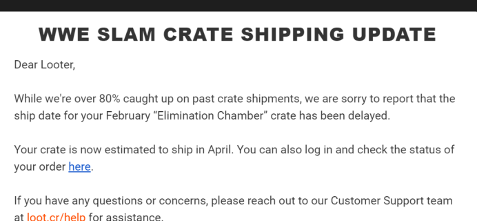 WWE Slam Crate February 2020 Shipping Update