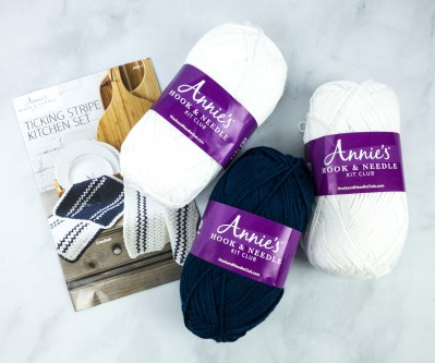 Annie's Hook & Needle Club Unboxing Review + Coupon – TICKING STRIPE KITCHEN SET