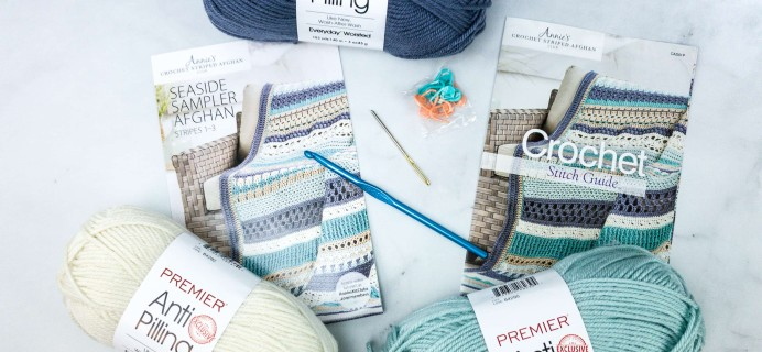 Annie's Crochet Striped Afghan Club Unboxing Review + Coupon – SEASIDE SAMPLER AFGHAN