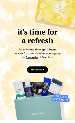 Birchbox Grooming Coupon: FREE Extra Grooming Box with Subscription!