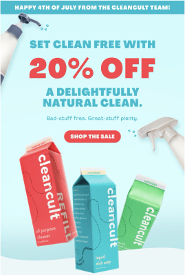 Cleancult Fourth of July Coupon: Get 20% Off Starter Bundles + FREE Shipping!