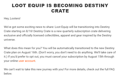 Loot Equip by Loot Gaming Is Now Destiny Crate!