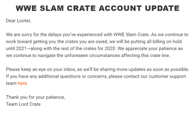 WWE Slam Crate Subscription Update