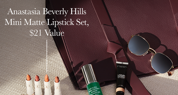 CURATEUR Coupon: FREE Anastasia Beverly Hills Lipstick Set + Kabuki Brush + $25 Off!