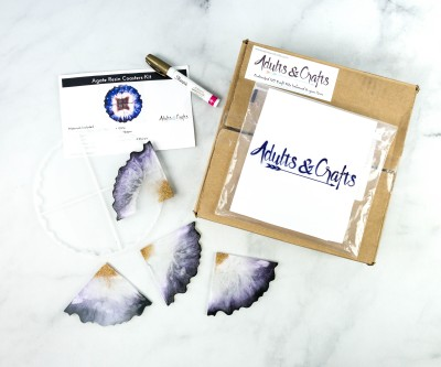 Adults & Crafts Subscription Box Review + Coupon – AGATE RESIN COASTER KIT