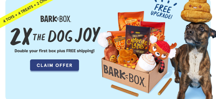 BarkBox Coupon: Double Your First Box for FREE + Guaranteed Autumn Themed Limited Edition Box!