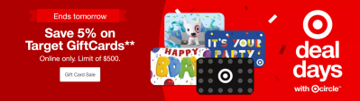Target Deal Days Sale: Save 5% on Target Gift Cards!