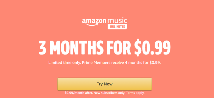 Amazon Music Unlimited 2020 Prime Day Deal: 4 Months for 99¢!