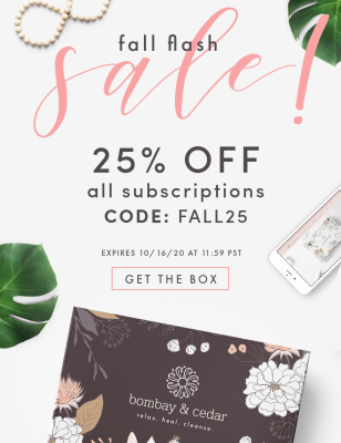 Bombay & Cedar Flash Sale: Get 25% Off ALL Subscriptions – Lifestyle, Beauty, & Seasonal Box!