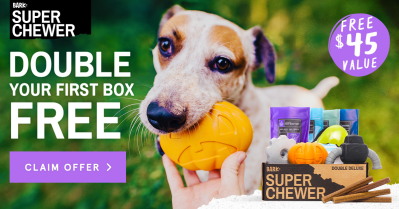 Super Chewer Coupon: Double Your Box First Month + Halloween Themed Box!