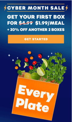 EveryPlate Cyber Month Sale: Just Pay $1.99 Per Meal + 20% Off Second and Third Boxes!