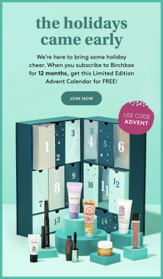 Birchbox Deal:  FREE Birchbox Beauty Advent Calendar With Annual Subscription!