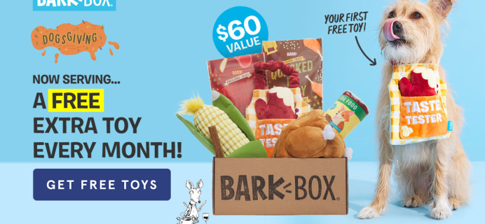 BarkBox Coupon: FREE Extra Toy Every Month + Thanksgiving Themed Limited Edition Box!