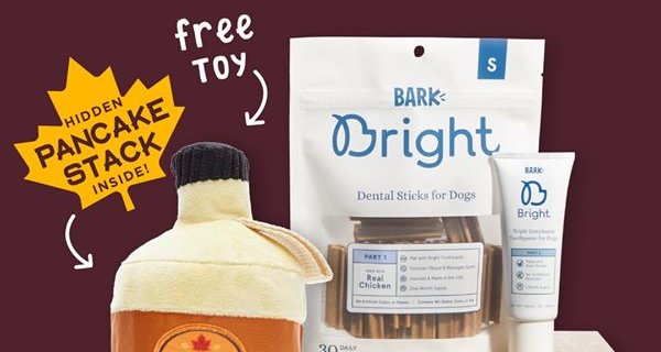 Bark Bright Coupon:  Free Syrup Toy with Subscription!