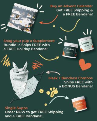 Goodboy Cyber Monday Deal: 20% OFF + FREE Holiday Dog Bandana!