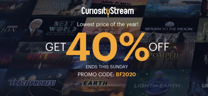 CuriosityStream Black Friday Deal: Save 40% on annual plans – just $11.99 for the year! Ends 11/27!