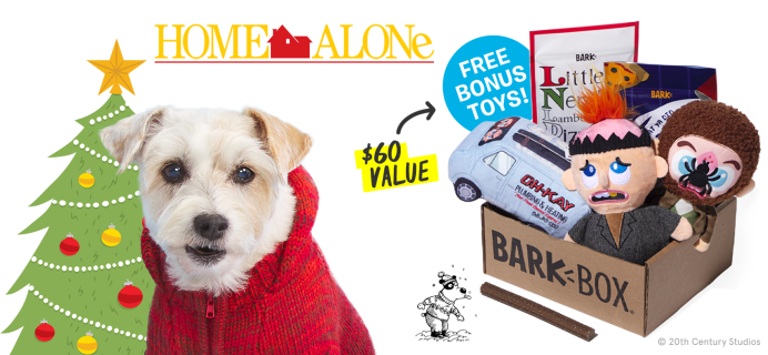 BarkBox Black Friday Coupon:  FREE Extra Toys + Home Alone Themed Limited Edition Box!