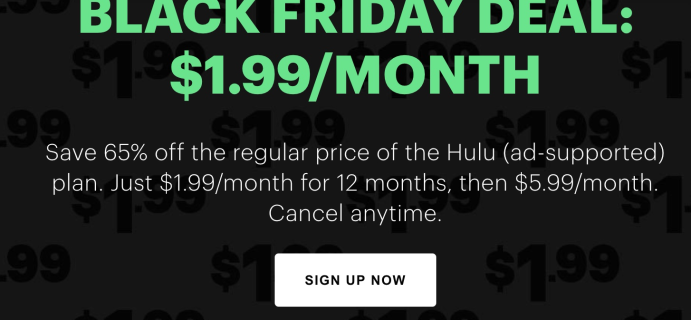 Hulu Black Friday Deal: $1.99 Per Month For 1 Year!