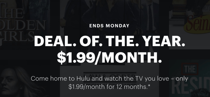 Hulu Cyber Monday Deal: $1.99 Per Month For 1 Year!