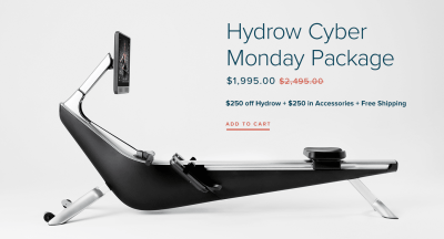 Hydrow Cyber Monday Deal: Save $250+ $250 in FREE accessories + FREE shipping!