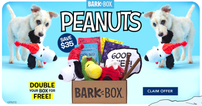 BarkBox Coupon: Double Your First Box for FREE + Peanuts Themed Limited Edition Box!