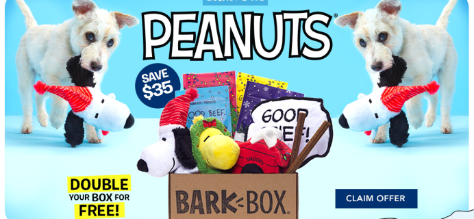 BarkBox Coupon: Double Your First Box for FREE + Peanuts Themed Box!