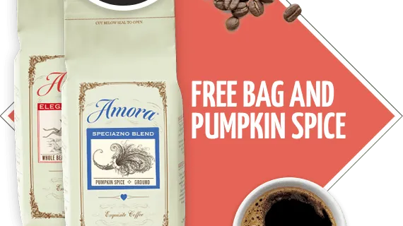 Amora Coffee Coupon: Free Bag of Coffee & Pumpkin Spice – $1 Shipped!