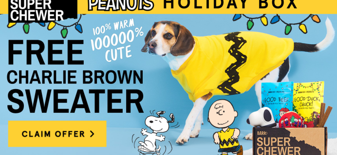 BarkBox Super Chewer Coupon: Get FREE Charlie Brown Sweater + Peanuts Themed Limited Edition Box!