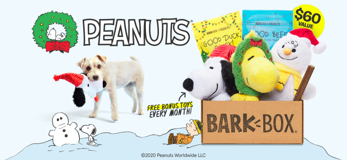 BarkBox Coupon: FREE Extra Toy Every Month + Guaranteed Peanuts Limited Edition Holiday Box!