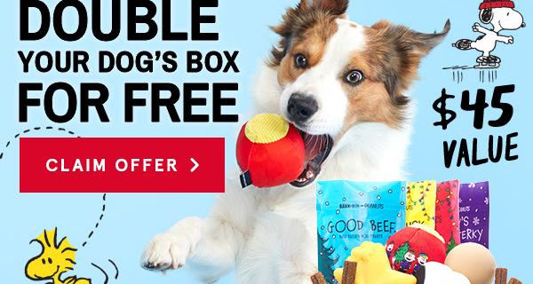 BarkBox Super Chewer Deal: First Box Double Deluxe + Peanuts Themed Limited Edition Box!