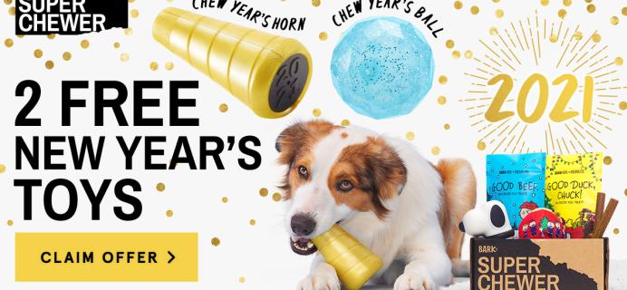 BarkBox Super Chewer Bonus: 2 Free NYE Toys With Subscription!