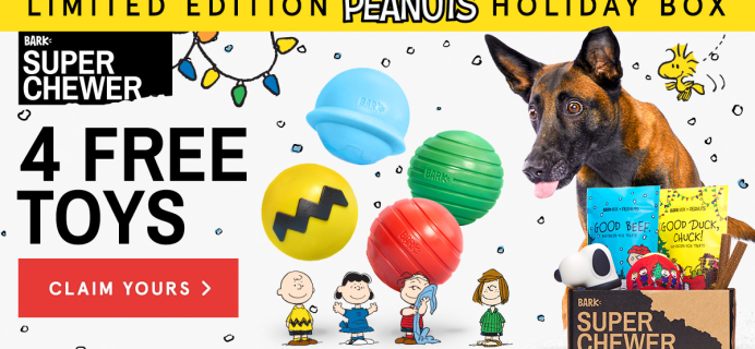 BarkBox Super Chewer Coupon: Get 4 FREE Toys + Peanuts Holiday Themed Limited Edition Box!
