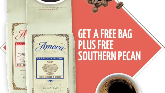Amora Coffee Coupon: Free Bag of Southern Pecan – $3.95 Shipped!