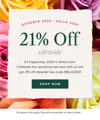 Bouqs New Year Deal: Save 21% SITEWIDE!