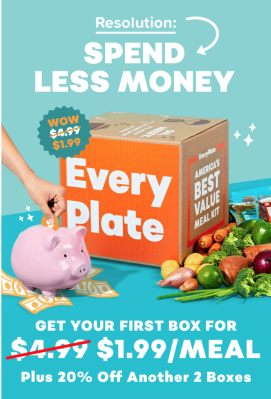 EveryPlate New Year Deal: Get 60% Off First Box + 20% Off Second and Third Boxes!