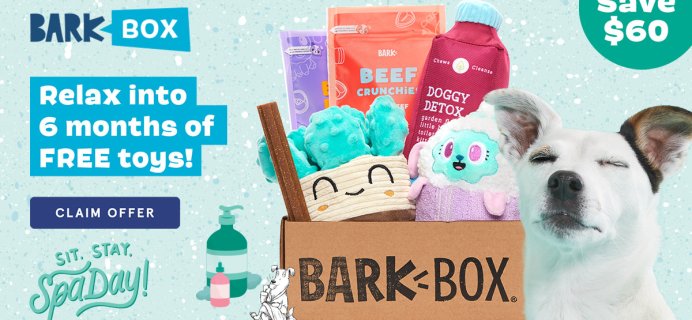 BarkBox Coupon: FREE Extra Toy Every Month + Spa-Day Themed Box!