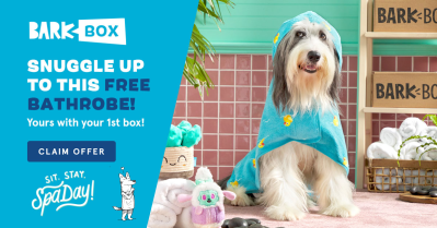 BarkBox Coupon: FREE Bath Robe with Spa Day Themed Box!