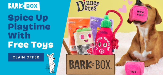 BarkBox Coupon: FREE Dice Plush Toy + Valentine's Day Themed Box!