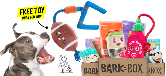 BarkBox Coupon: FREE Football Plush Toy + Valentine's Day Themed Box!