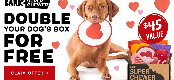 BarkBox Super Chewer Deal: First Box Double Deluxe + Valentine's Day Themed Box!