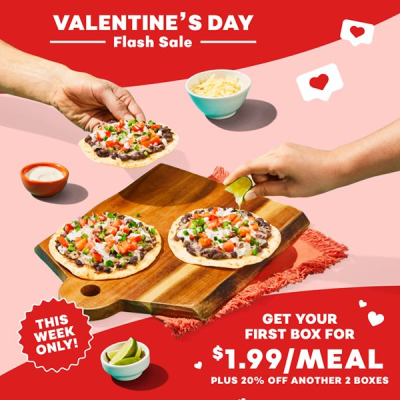 EveryPlate Valentine's Day Deal: Get 60% Off First Box + 20% Off Second and Third Boxes!