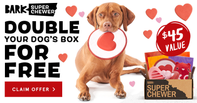 BarkBox Super Chewer Deal: First Box Double Deluxe + Pups & Kisses Themed Box!