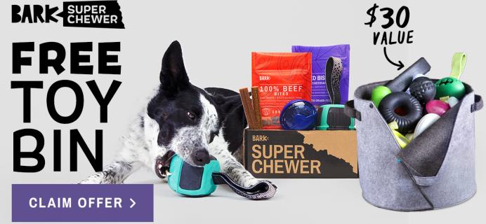 BarkBox Super Chewer Coupon: Get a FREE Felt Toy Bin!